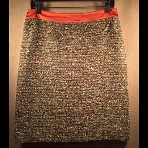 Pencil Skirt Brown Tweed Wool Blend ETCETERA Sz 4